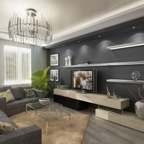 Декоративная подсветка полок на серой стене