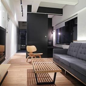 Темные тона в дизайне гостиной