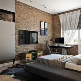 Кирпичная отделка стен в комнате подростка