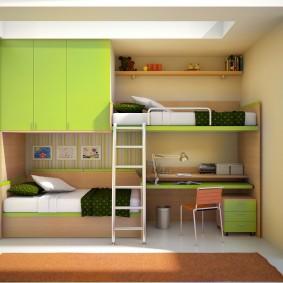 Встроенная мебель вдоль длинной стены в детской комнате