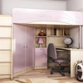 Кровать-чердак со шкафом для детской одежды