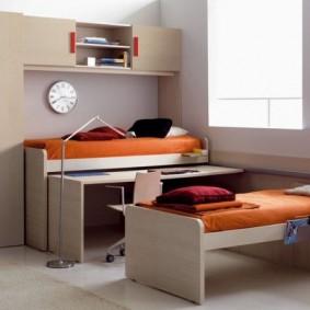 Детский гарнитур со шкафами и выдвижными кроватями
