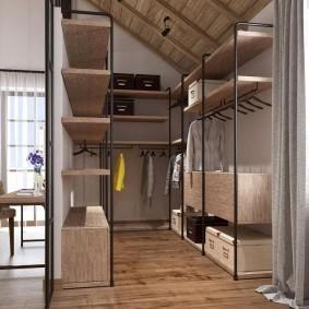 Открытый гардероб двухрядной планировки