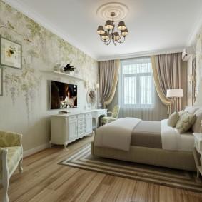 Место для телевизора в спальне классического стиля
