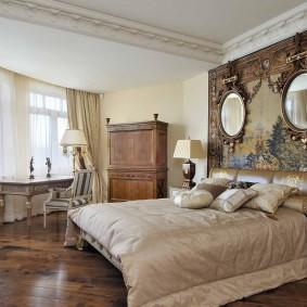 Оригинальный декор акцентной стены в спальне