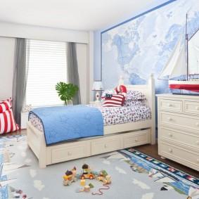 Морские фотообои на стене детской спальни