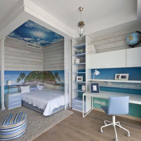 Спальное место в детской комнате для девочки