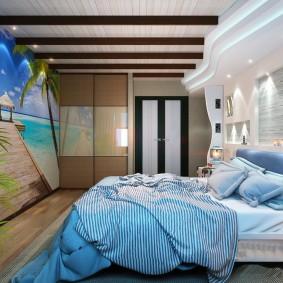 Декор деревянными балками потолка детской комнаты
