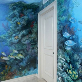 Обои в морском стиле на стене спальни
