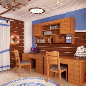 Деревянная мебель в комнате школьников