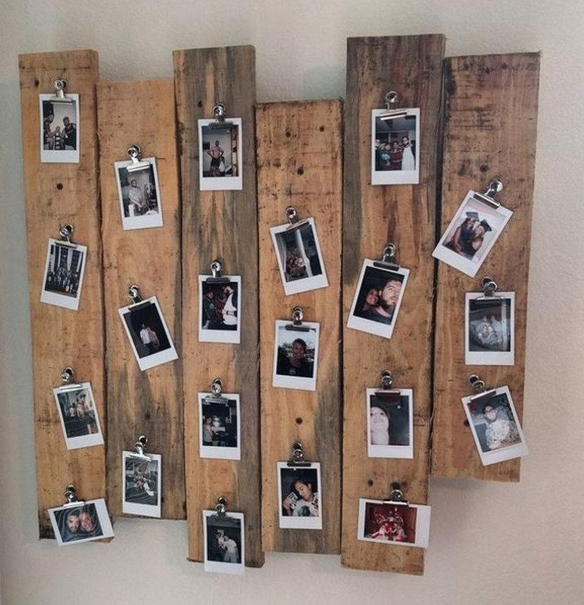 Декоративное панно из досок с фотографиями небольшого размера