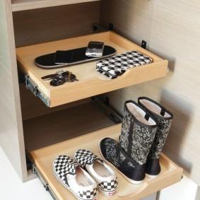 Выдвижные полочки для обуви в шкафу в прихожей