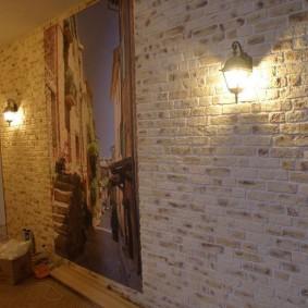 Светильники с подвесными плафонами на кирпичной стене