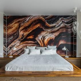 Абстрактные обои с фотопечатью в спальне