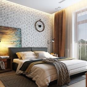 Обои под кирпич в спальне современного стиля