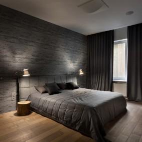 Обстановка в спальне с серыми стенами