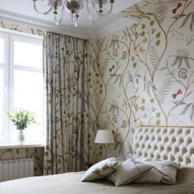 Подбор штор под рисунок на обоях в спальне