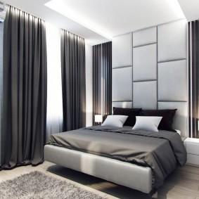 Черные шторы в спальне стиля хай-тек