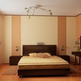 Полосатые стены в спальне современного стиля