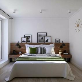 Однотонные стены в узкой спальне