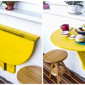 Желтый столик для балкона или лоджии