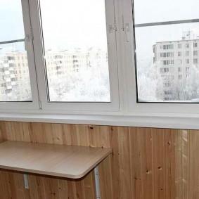 Деревянная отделка утепленной лоджии