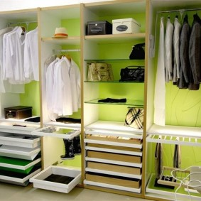 Выдвижные полки в линейной гардеробной