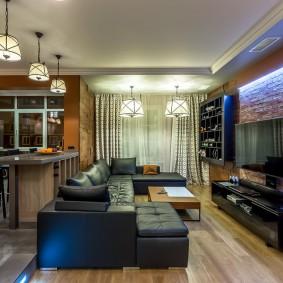 Освещение кухни-гостиной с белым потолком