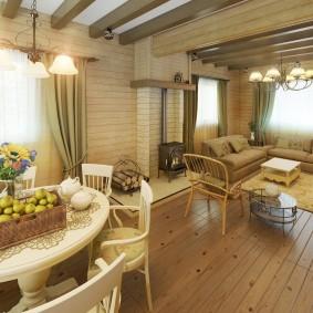 Деревянный пол в гостиной загородного дома