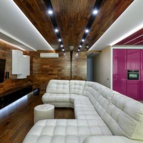 Деревянные панели в отделке гостиной комнаты