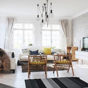 Большая гостиная с мебелью в ретро стиле