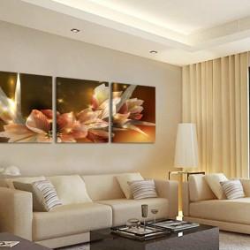Модульные картины для декорирования гостиной