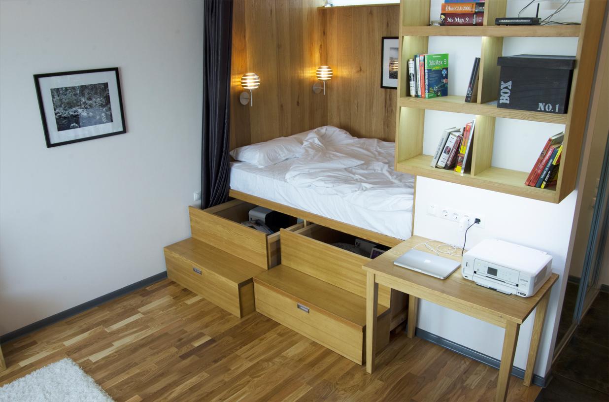 фото однокомнатных квартир с местом для кровати исходе