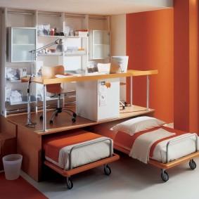 Выкатные кровати для детской небольшого размера
