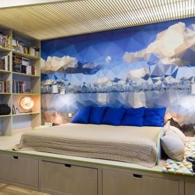 Дизайн комнаты подростка с фотообоями на стене