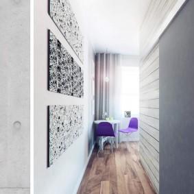 Ламинат на полу узкого помещения