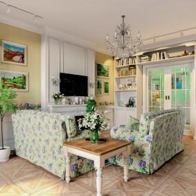 Зонирование гостиной мягкой мебелью