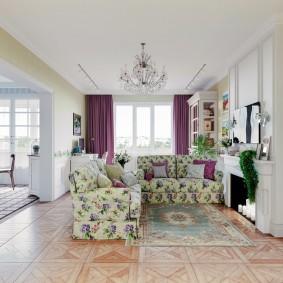 Интерьер зала с занавесками фиолетового цвета