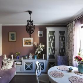Зонирование цветом кухни-гостиной