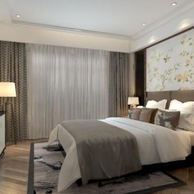 Дизайн спальни с двухуровневым потолком