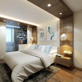 Зонирование спальни потолочной отделкой