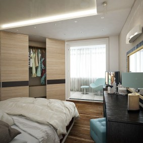 Дизайн спальни с угловым гардеробом