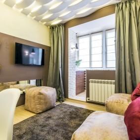 ЗD-потолок в спальне небольшой площади
