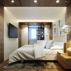 разделение спальни на зоны с помощью цвета стен и потолка