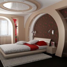 Комбинированный потолок в современной спальне