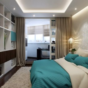 Интерьер спальни с лоджией в кирпичном доме