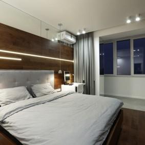 Отделка спальной комнаты мдф-панелями под дерево