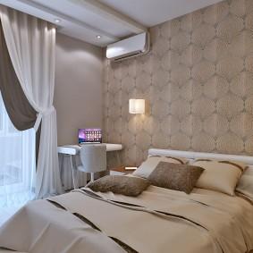 Пастельные обои в интерьере спальни