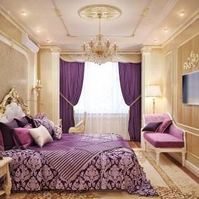 Фиолетовые шторы в спальной комнате