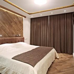 Коричневый текстиль в интерьере спальни